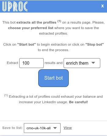 Bot popup